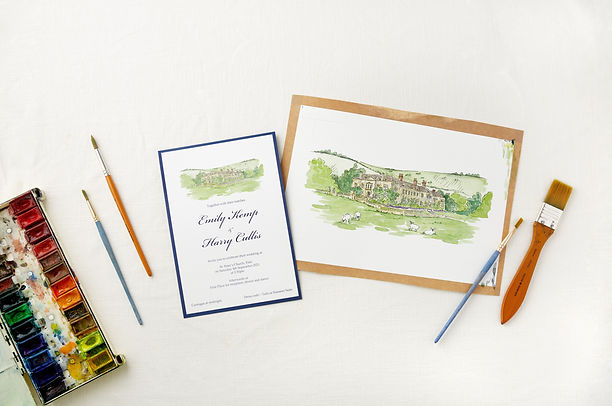 bespoke-watercolour-wedding-stationery-venue-portrait-and-finished-invite-sarah-dowling-br