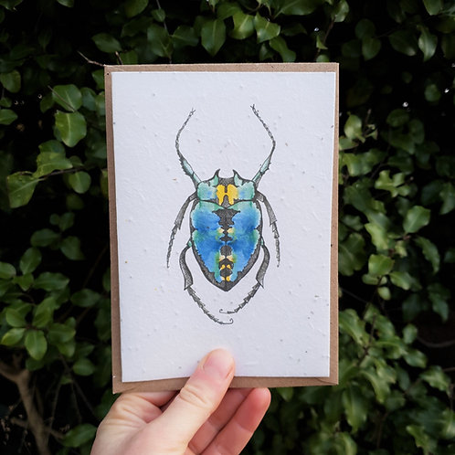 Blue beetle wildflower seed card