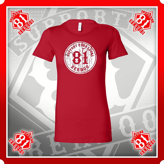 81 Distressed Ladies Red Support T