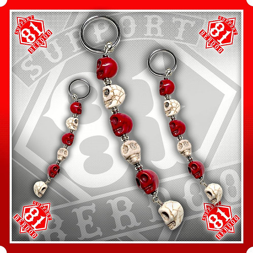 Red & White Skull Keychain