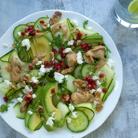 Avocado and Walnut Salad with Peanut Kefir Dressing