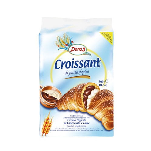 Dora 3 Croissants Chocolate & Milk Cream 6pk 300g