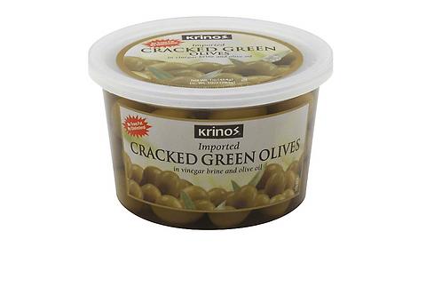 Krinos Cracked Green Olives in Brine Tub (454g)