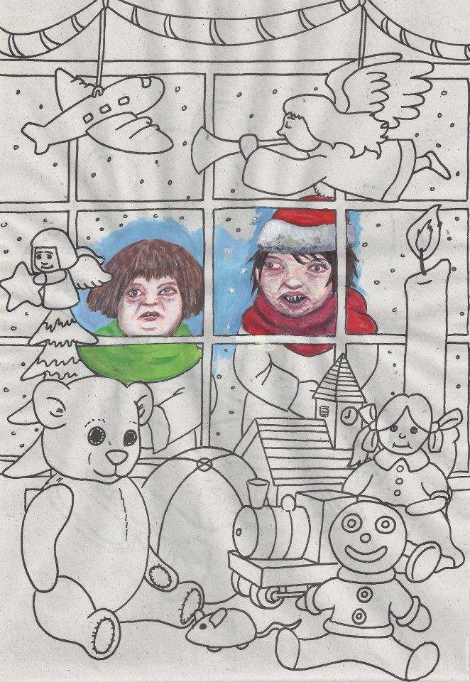 Christmas colouring #5 Acrylic on colouring book page