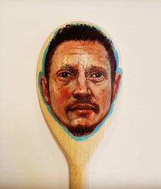 Self portrait Oil on wooden spoon 2020