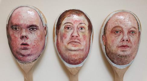 Spoonmen Acrylic on wooden spoons 2020
