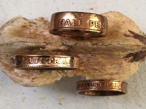 Coin Ring Australian Half Penny