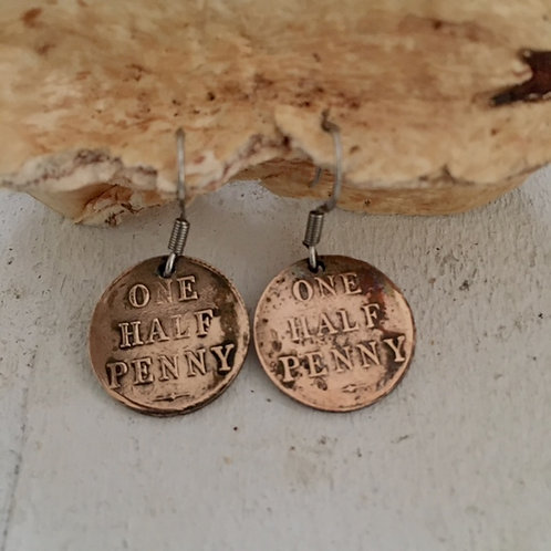 Earrings Vintage Halfpenny Centres