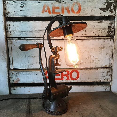 Vintage Grinder Lamp with Strainer Shade