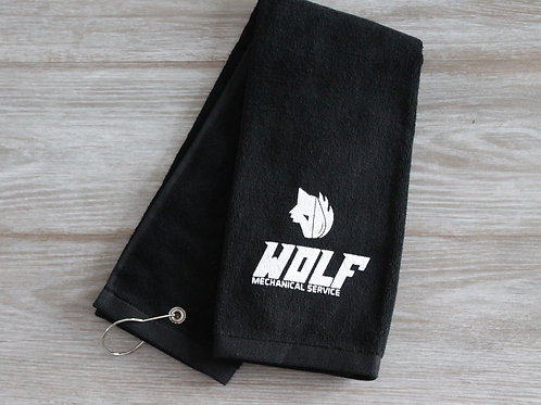 Wolf Golf Towel - Black with White Logo