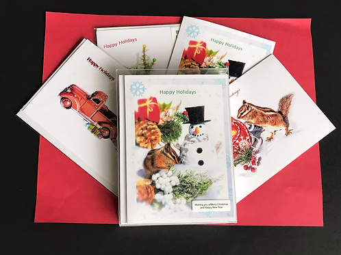 Christmas chipmunk cards 8 pkg