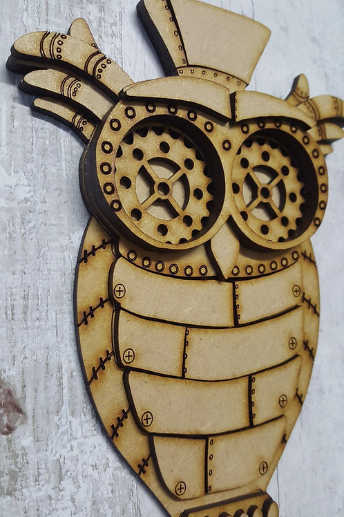 3D layered laser cut MDF Steampunk Owl.