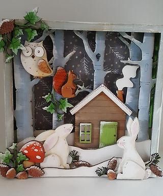 Snowy Woodland Box Scene