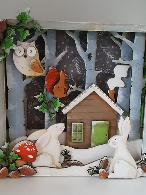 Snowy Woodland Box Scene