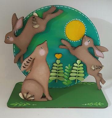 Folk art Hare Plaque