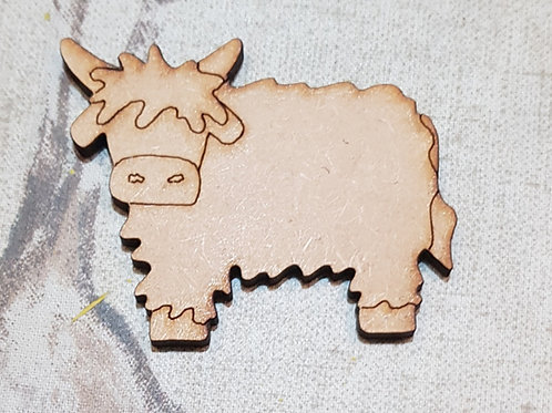 Etched Highland Coo