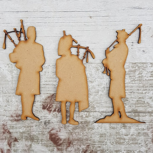 Bagpipers set of 3 in 3.2mm MDF craft blanks
