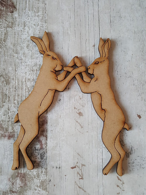 Laser cut boxing hares made from 2mm MDF
