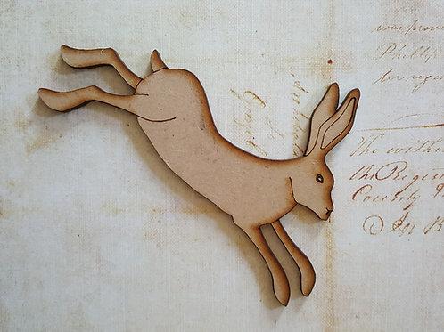 Laser cut running hare in 3.6mm MDF medium size