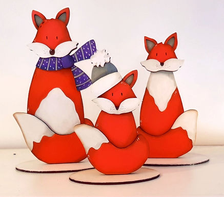 Freestanding Snowy Fox Family