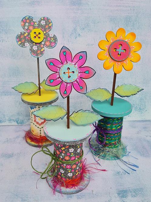 Set of 3 Bobbin Flowers