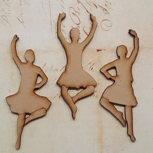 Set of three 3.6mm laser cut MDF highland dancers