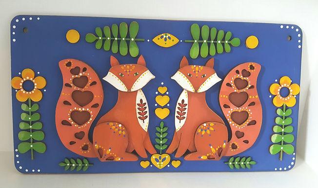 Folk art Fox Plaque