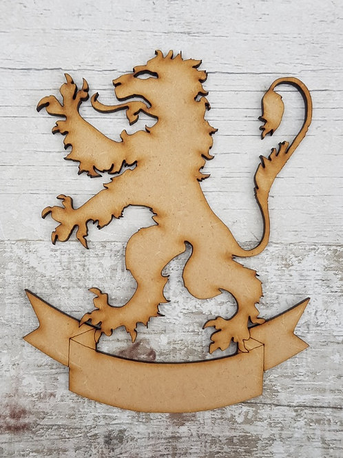 Lion Rampant and banner mdf craft blank