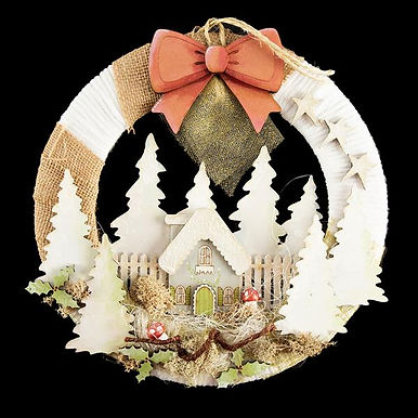 Snowy House Wreath