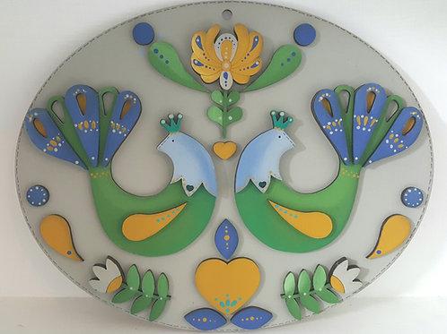 Folk Art Peacock Plaque
