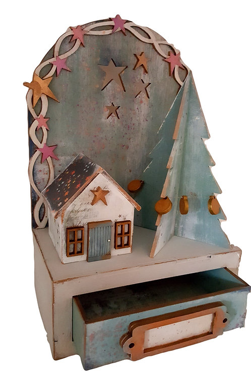 3D Snowy Cottage Box and Freestanding Trees