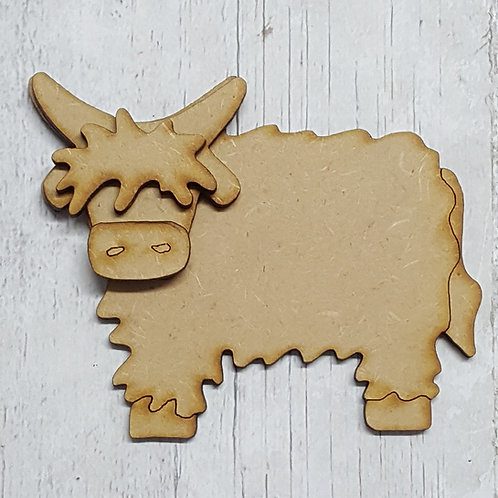 Layered 3.6mm laser cut MDF Highland cow