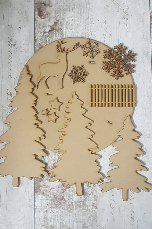 MDF Xmas Winter Scene to assemble, decorate and display.