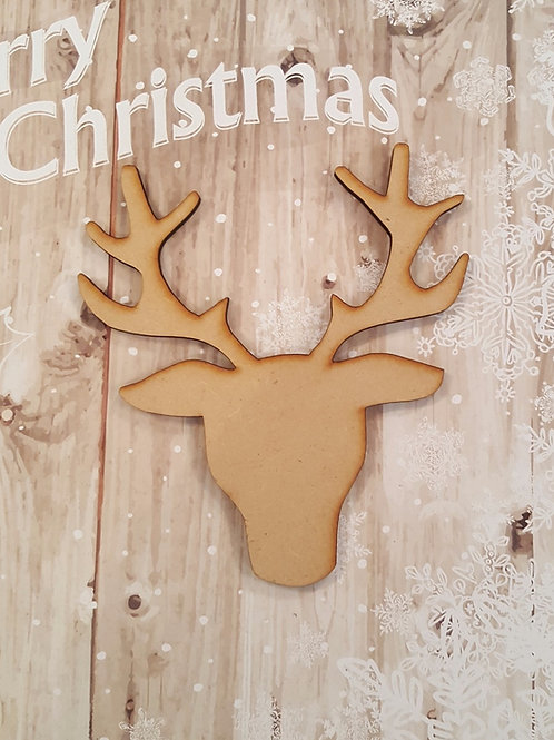 Medium 3.6mm MDF laser cut front facing stags head