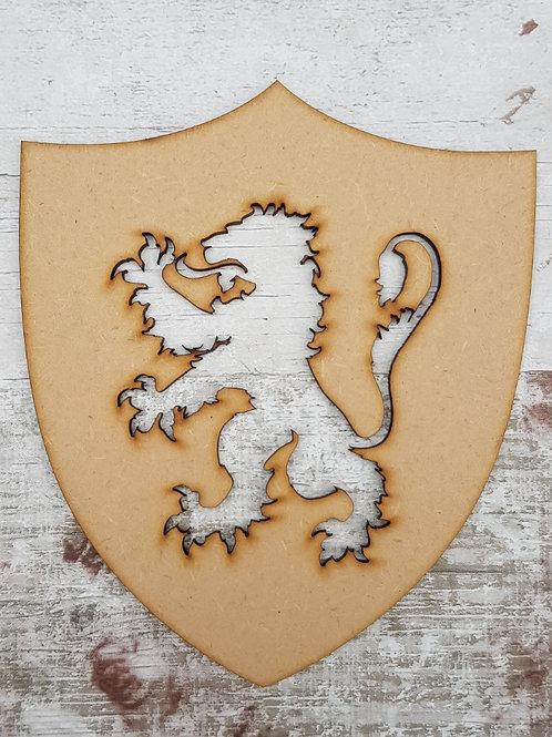 Lion Rampant on a shield mdf craft blank