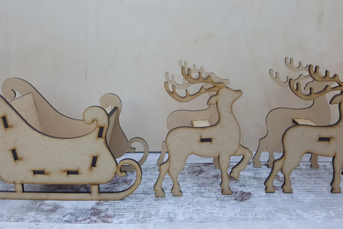 Reindeer and Sleigh Xmas craft kit in 3.2mm MDF