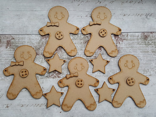 Gingerbread man bunting kit in 3.2mm MDF.