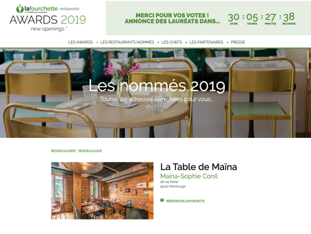 La Table de Maïna nommée aux La Fourchette Awards 2019
