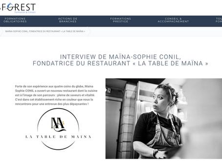 Asforest: Interview de Maïna-Sophie Conil, fondatrice du restaurant La Table de Maïna