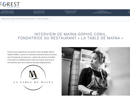 Asforest: Interview de Maïna-Sophie Conil, fondatrice du restaurant La Table de Maïna