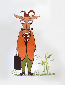 Dr Goat. Mascot for Vetanary drugs