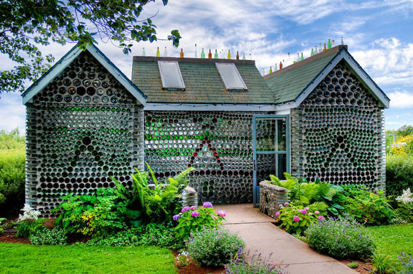 This house built out of 25,000 recycled bottles cemented together is situated in Cap-Egmont, Prince Edward Island, Canada.  Photo by Keith Watson via Flickr.