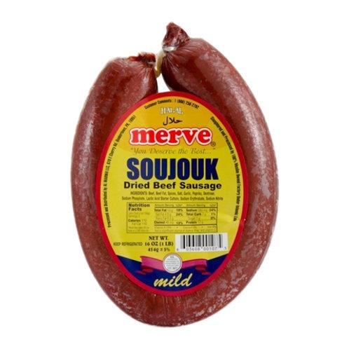 Merve Dried Beef Sausage Mild- Merve Soujouk, 1 LB