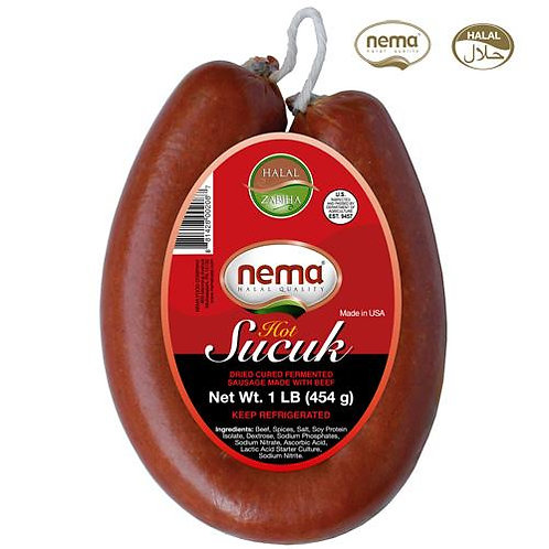 Nema Halal Zabiha Hot Beef Sucuk, Fermented & Cured Sausage made with Beef