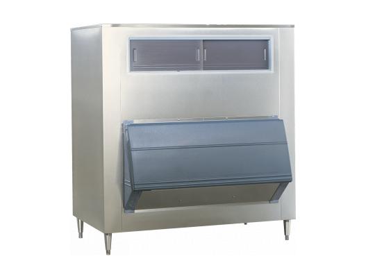 Upright ice storage bins