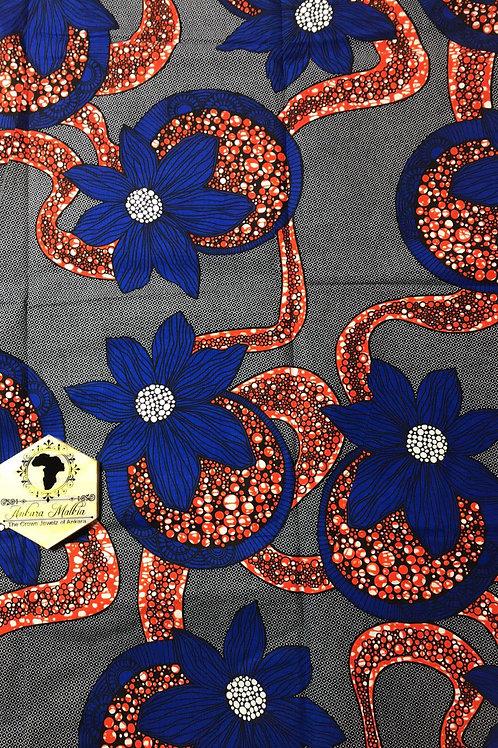 """Orange & Denim Blue Floral """"Big Bloom"""" Floral 011"""