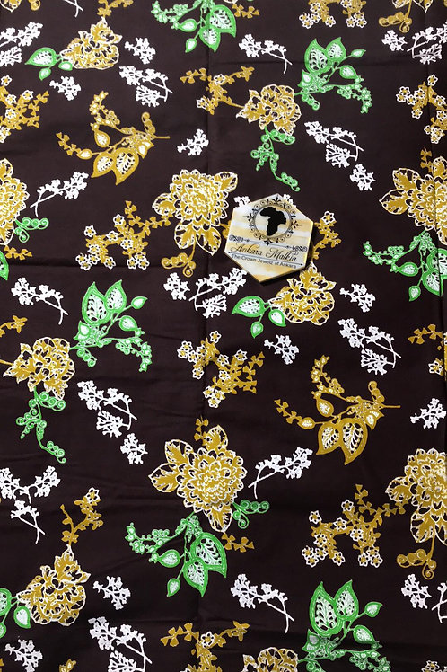 Brown, Yellow, Green Floral Textured Java RF014
