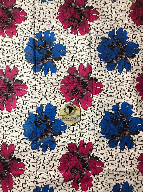 """Royal Blue & Pink Floral """"Big Bloom"""" Floral 008"""