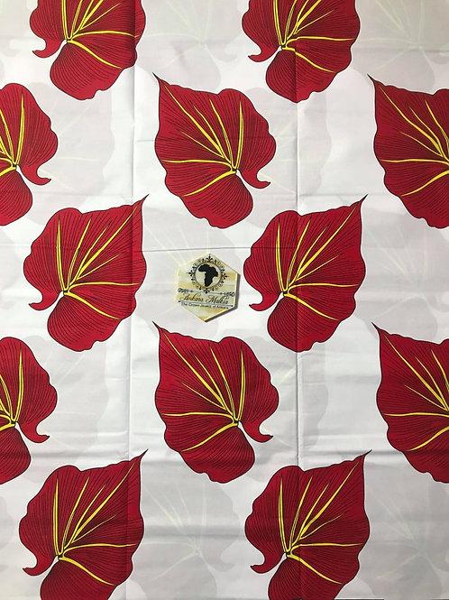 """""""Leaf"""" White & Red Med Floral 003"""