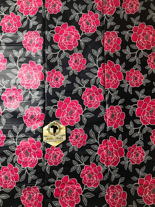 """Petite Roses"" Red. Navy Backing ""Big Bloom"" Floral 021"